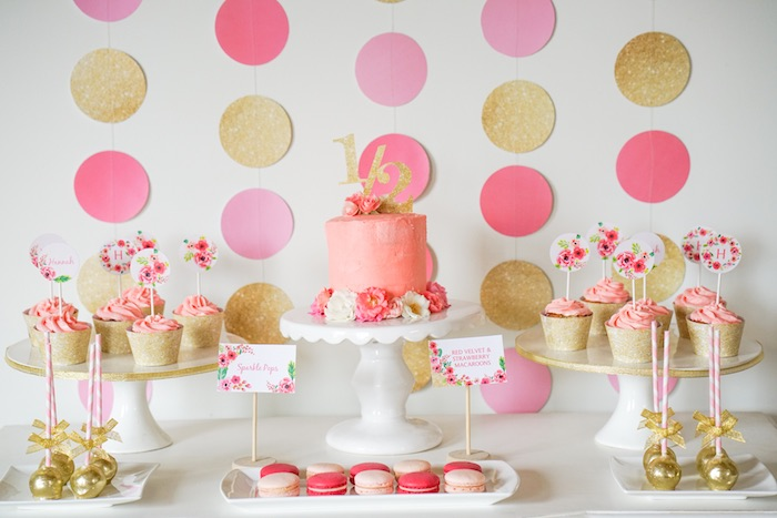 Sweet Table Detail from a Pink + Gold Half Birthday Party via Kara's Party Ideas | The Place for All Things Party! KarasPartyIdeas.com (4)