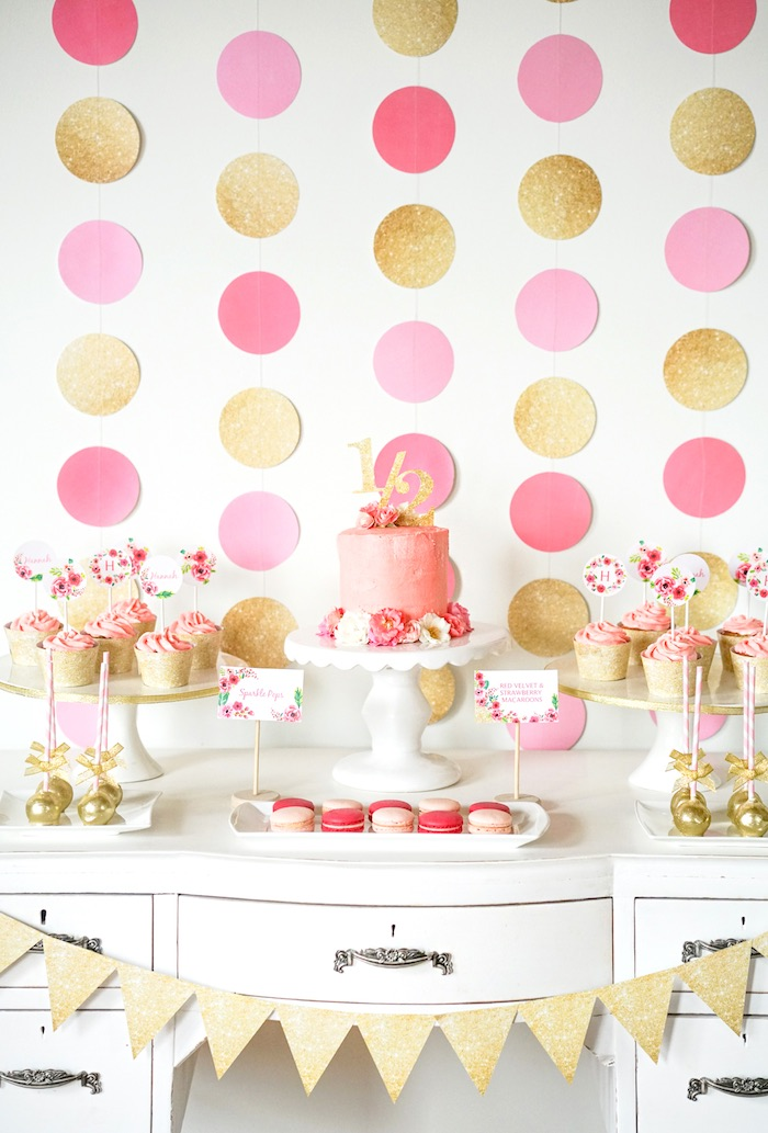 Sweet Table From A Pink Gold Half Birthday Party Via Karas Ideas