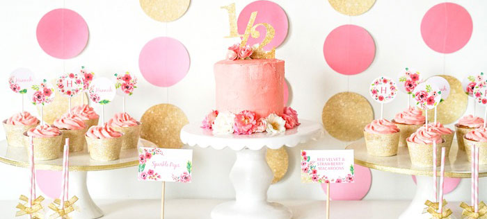 Sweet Table Details from a Pink + Gold Half Birthday Party via Kara's Party Ideas | The Place for All Things Party! KarasPartyIdeas.com (1)