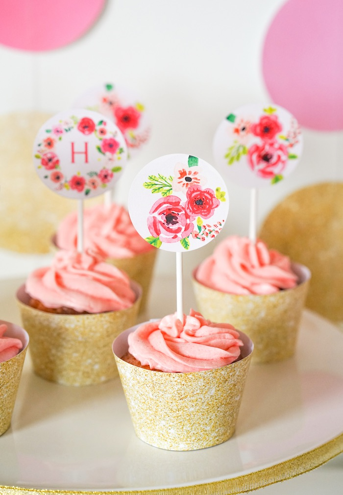 Cupcakes from a Pink + Gold Half Birthday Party via Kara's Party Ideas | The Place for All Things Party! KarasPartyIdeas.com (12)
