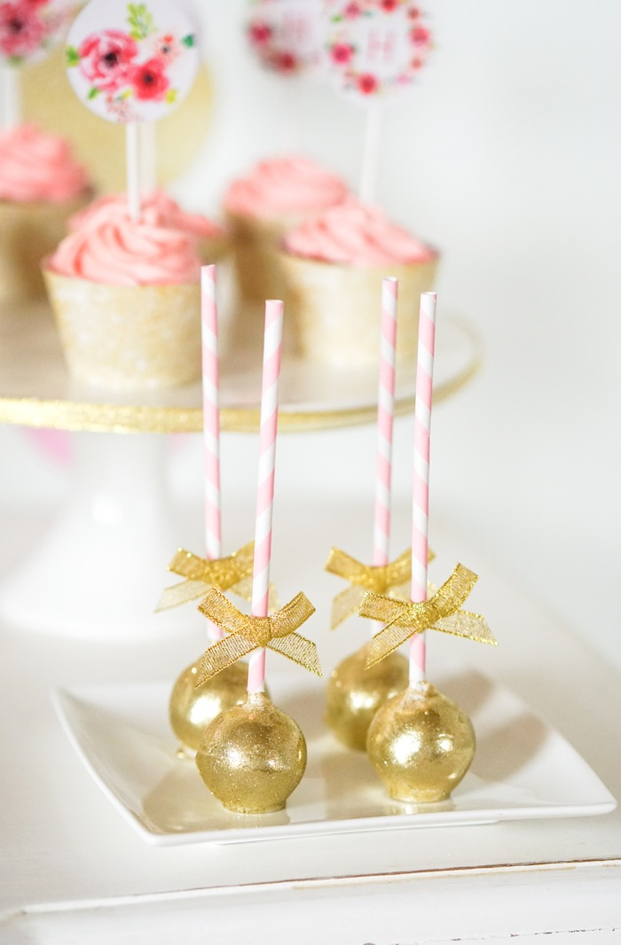 Cake Pops from a Pink + Gold Half Birthday Party via Kara's Party Ideas | The Place for All Things Party! KarasPartyIdeas.com (10)