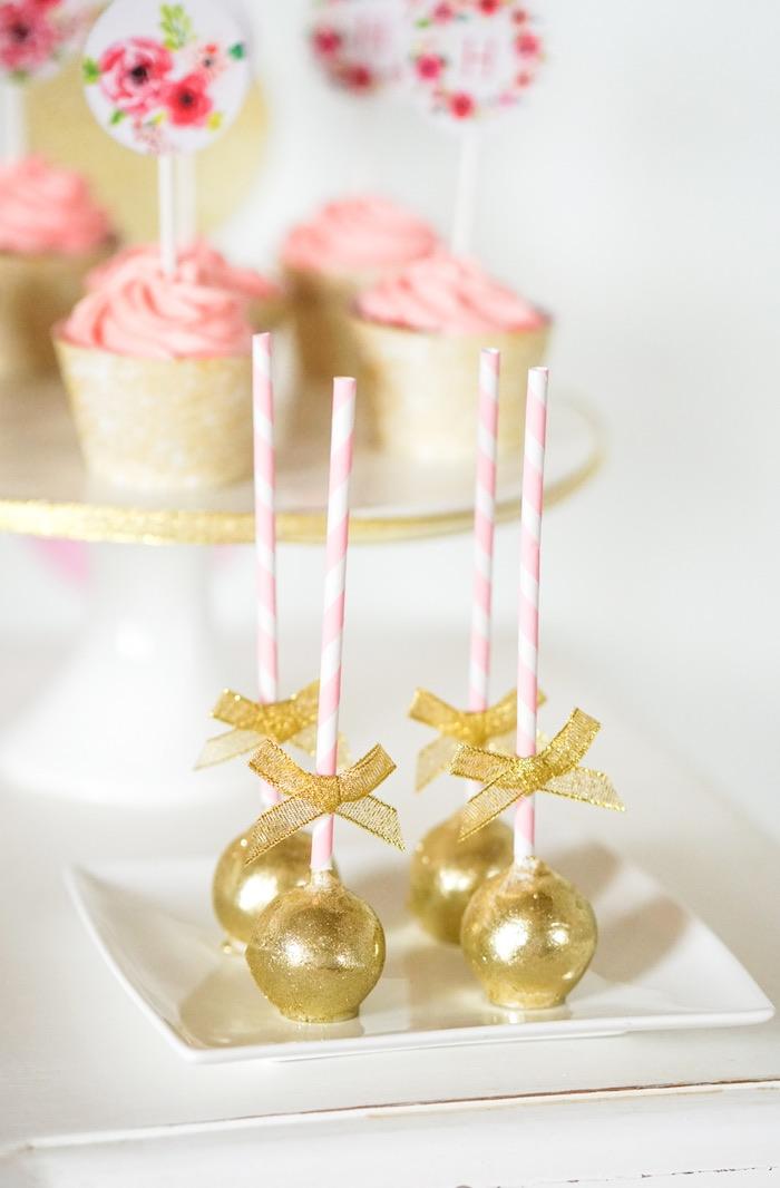 Cake Pops Gold Rose