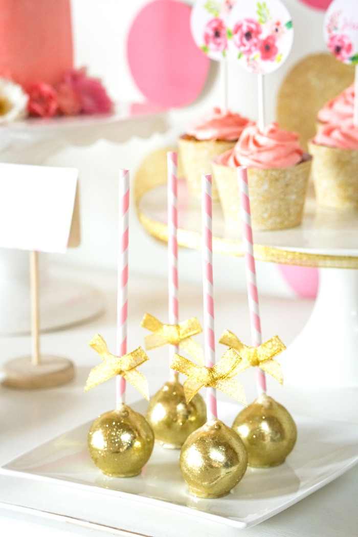 Karas Party Ideas Sparkle Cake Pops from a Pink Gold Half