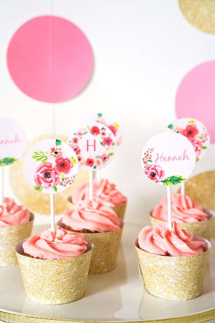Cupcakes from a Pink + Gold Half Birthday Party via Kara's Party Ideas | The Place for All Things Party! KarasPartyIdeas.com (8)