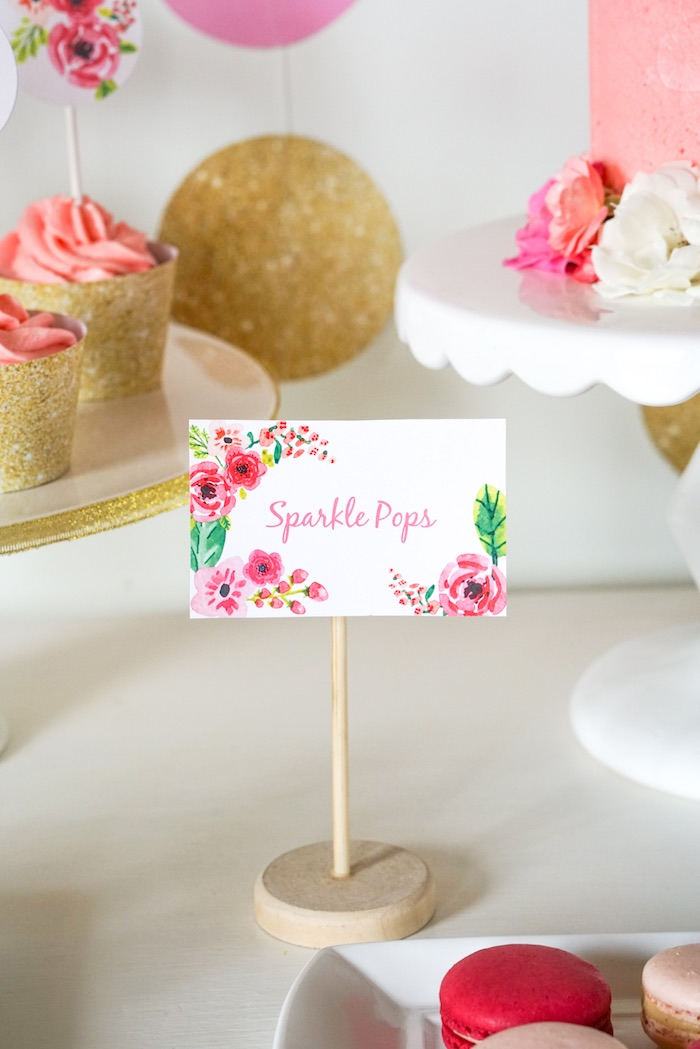 Sweet Label from a Pink + Gold Half Birthday Party via Kara's Party Ideas | The Place for All Things Party! KarasPartyIdeas.com (7)