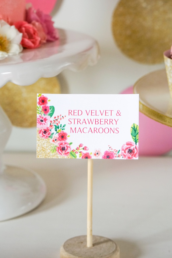 Sweet Label from a Pink + Gold Half Birthday Party via Kara's Party Ideas | The Place for All Things Party! KarasPartyIdeas.com (6)