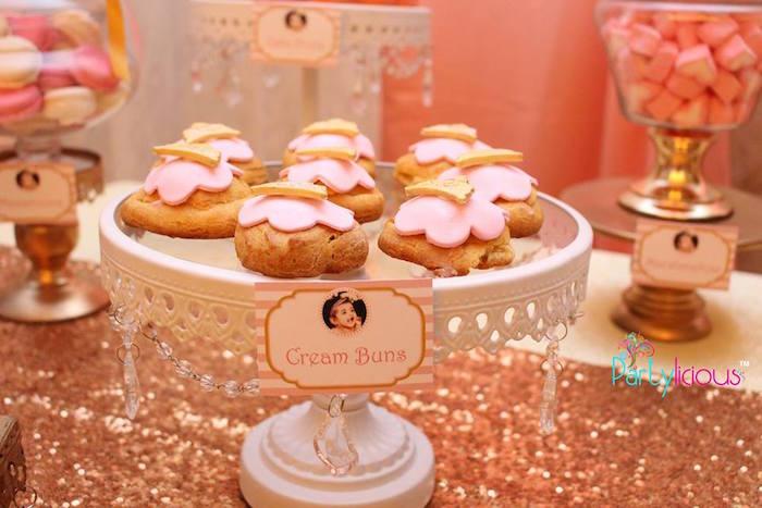 Cream Buns from a Pink + Gold Princess Party via Kara's Party Ideas | KarasPartyIdeas.com (25)
