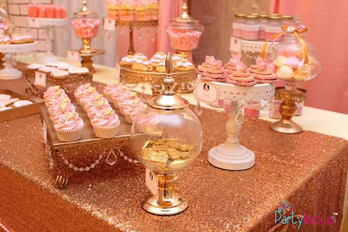 Sweet Table Details from a Pink + Gold Princess Party via Kara's Party Ideas | KarasPartyIdeas.com (24)