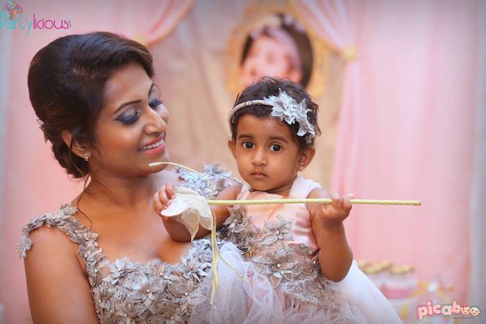 Birthday Girl with her Mom from a Pink + Gold Princess Party via Kara's Party Ideas | KarasPartyIdeas.com (21)