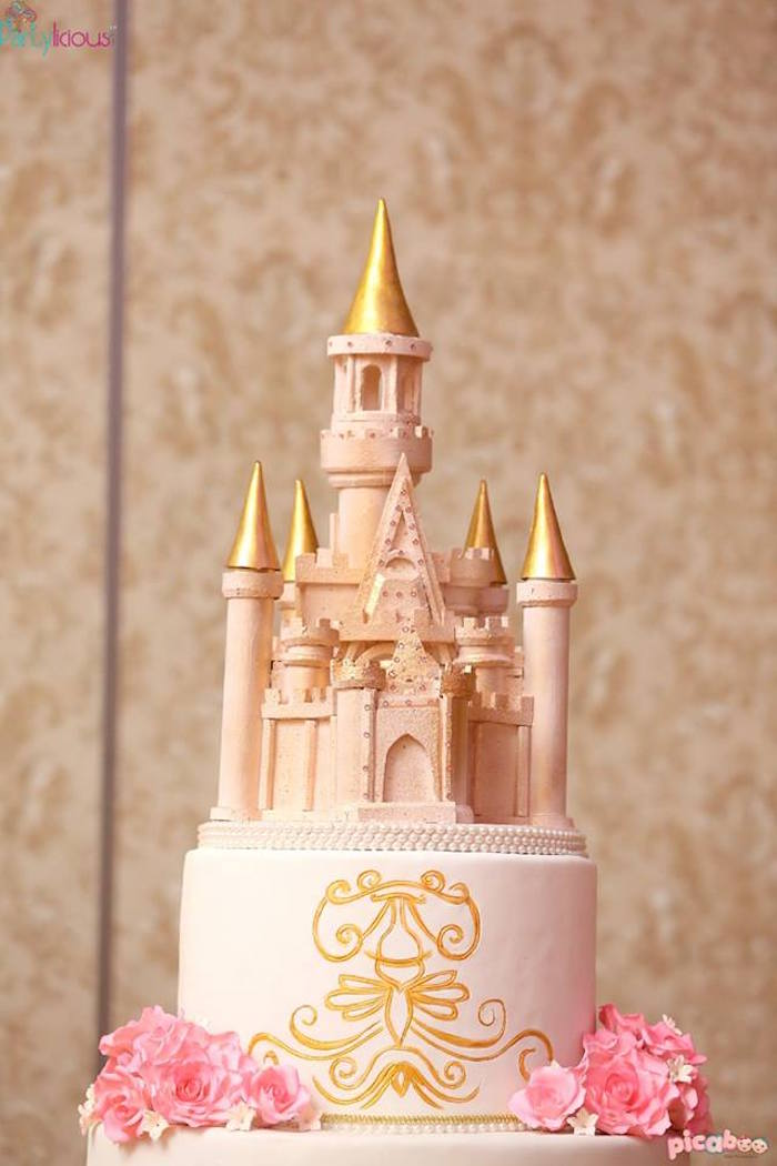 Castle Cake Topper from a Pink + Gold Princess Party via Kara's Party Ideas | KarasPartyIdeas.com (15)