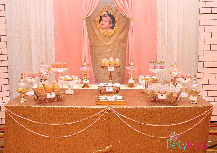 Sweet Table from a Pink + Gold Princess Party via Kara's Party Ideas | KarasPartyIdeas.com (14)