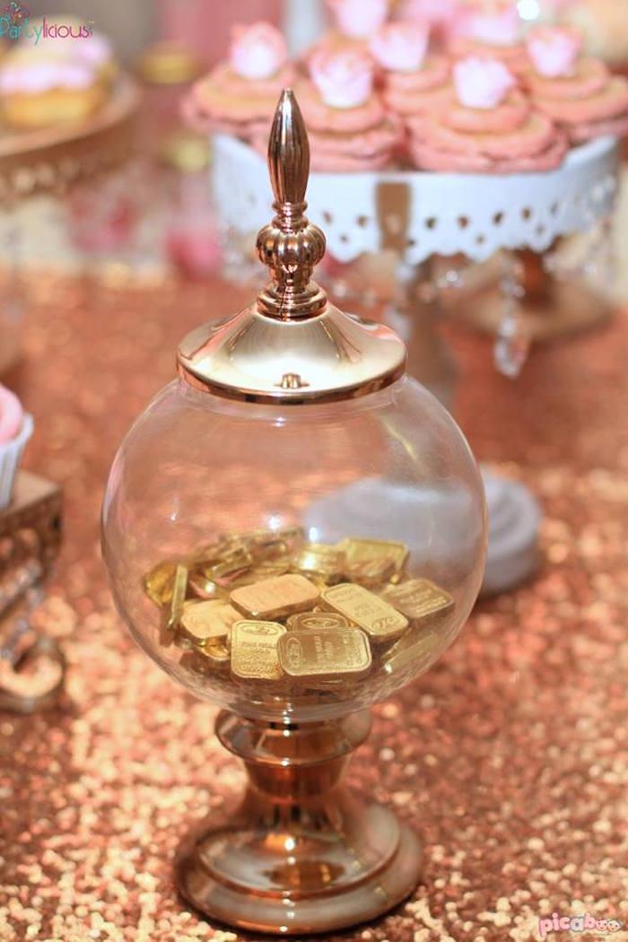 Gold Bar Chocolates from a Pink + Gold Princess Party via Kara's Party Ideas | KarasPartyIdeas.com (13)
