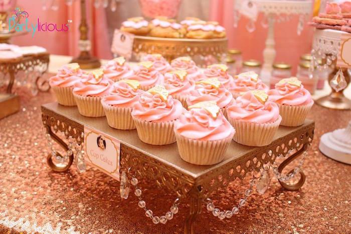 Cupcakes from a Pink + Gold Princess Party via Kara's Party Ideas | KarasPartyIdeas.com (12)