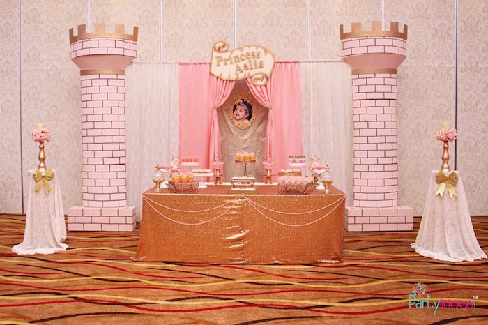 Dessert Table Display From A Pink + Gold Princess Party Via Karau0027s Party  Ideas | KarasPartyIdeas