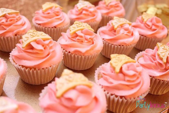 Cupcakes from a Pink + Gold Princess Party via Kara's Party Ideas | KarasPartyIdeas.com (10)