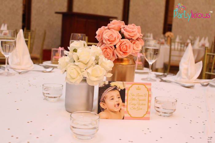 Guest Table from a Pink + Gold Princess Party via Kara's Party Ideas | KarasPartyIdeas.com (9)