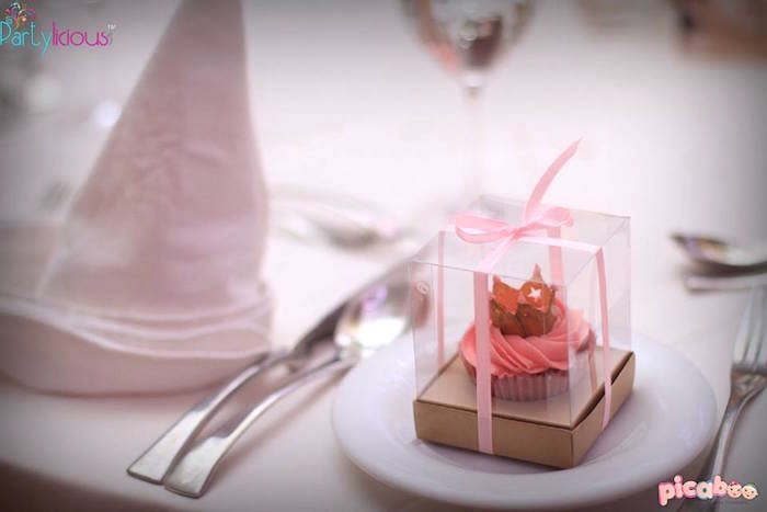 Cupcake Favor + Place Setting from a Pink + Gold Princess Party via Kara's Party Ideas | KarasPartyIdeas.com (7)