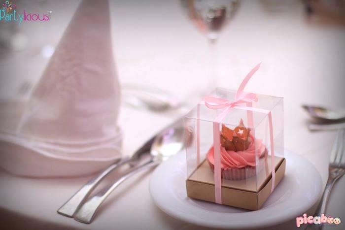 Cupcake Favor + Place Setting from a Pink + Gold Princess Party via Kara's Party Ideas | KarasPartyIdeas.com (7)