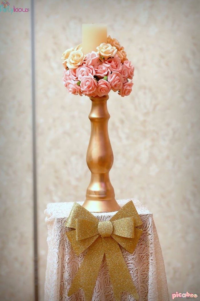 Floral Candlestick Stand from a Pink + Gold Princess Party via Kara's Party Ideas | KarasPartyIdeas.com