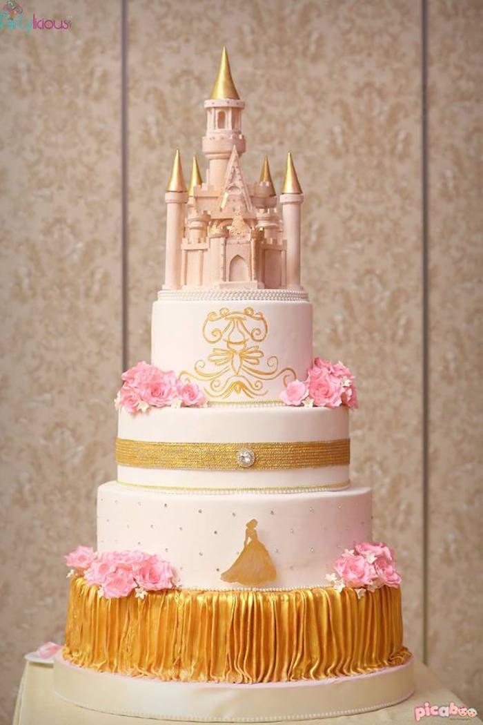 Cake from a Pink + Gold Princess Party via Kara's Party Ideas | KarasPartyIdeas.com (6)