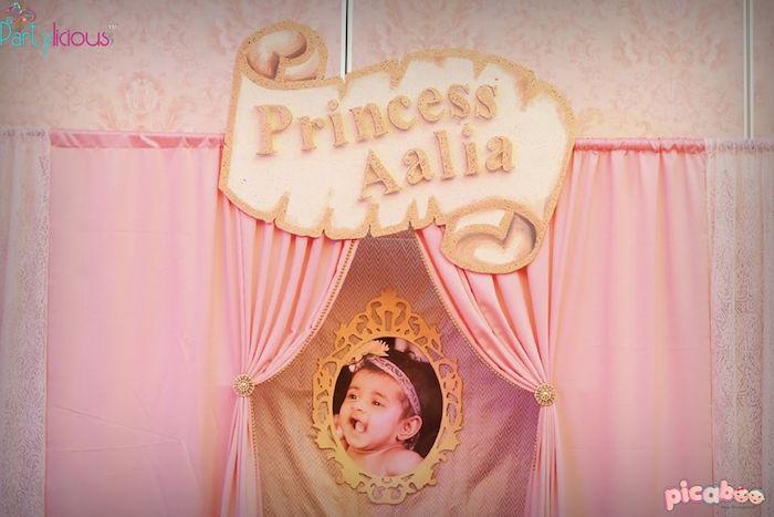 Backdrop from a Pink + Gold Princess Party via Kara's Party Ideas | KarasPartyIdeas.com (32)
