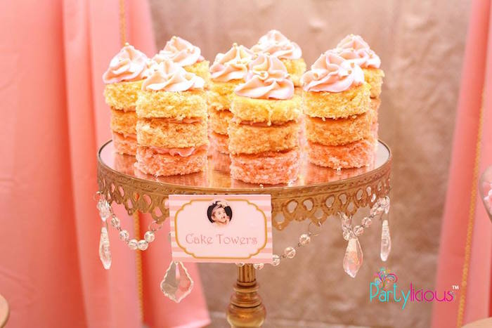 Cake Towers from a Pink + Gold Princess Party via Kara's Party Ideas | KarasPartyIdeas.com (31)