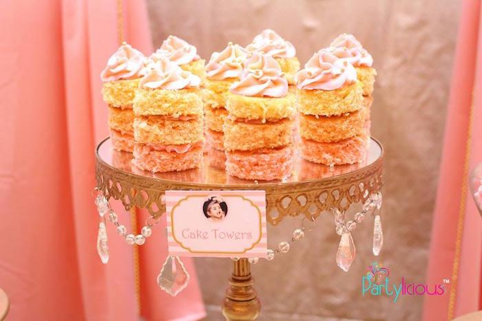 Cake Towers from a Pink + Gold Princess Party via Kara's Party Ideas | KarasPartyIdeas.com (31)