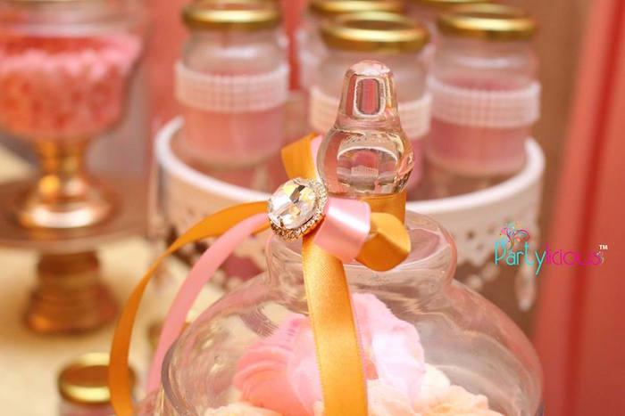 Sweet Jar Ribbon + Jewel from a Pink + Gold Princess Party via Kara's Party Ideas | KarasPartyIdeas.com (29)