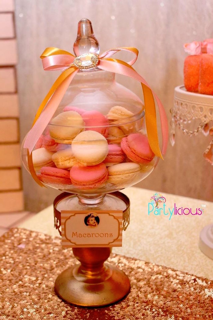Macarons from a Pink + Gold Princess Party via Kara's Party Ideas | KarasPartyIdeas.com (28)
