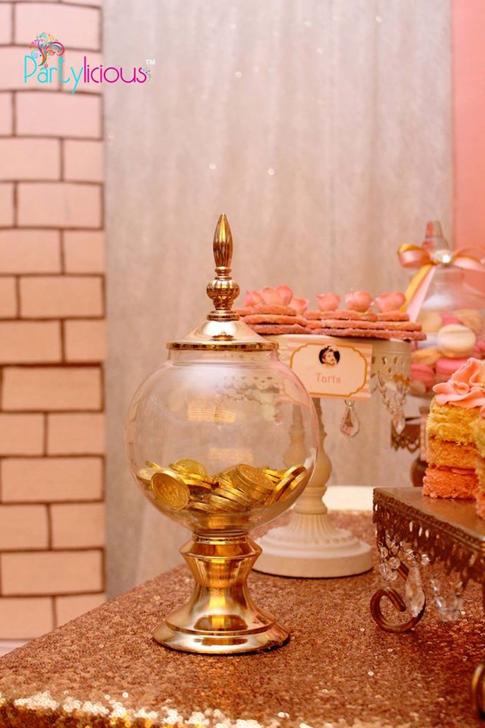 Sweet Jar from a Pink + Gold Princess Party via Kara's Party Ideas | KarasPartyIdeas.com