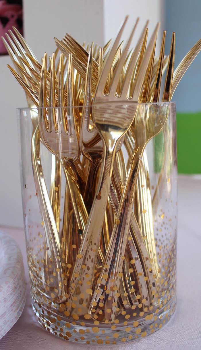 Gold Forks from a Princess Birthday Party via Kara's Party Ideas | KarasPartyIdeas.com (22)