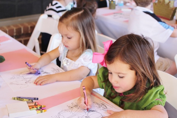 Little Girls Coloring at a Princess Birthday Party via Kara's Party Ideas | KarasPartyIdeas.com (21)