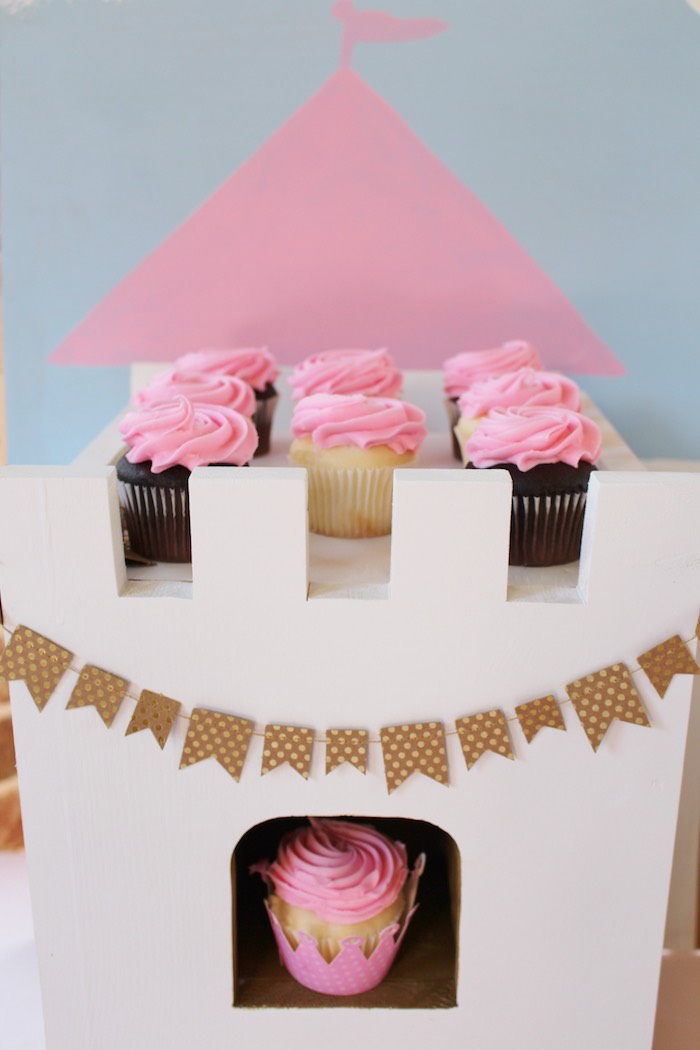 Cupcakes atop a Drawbridge Cupcake Stand from a Princess Birthday Party via Kara's Party Ideas | KarasPartyIdeas.com (16)