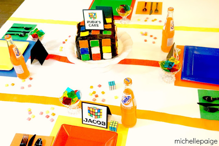Full-view of Guest Table from a Rubik's Cube Themed Birthday Party via Kara's Party Ideas KarasPartyIdeas.com (7)