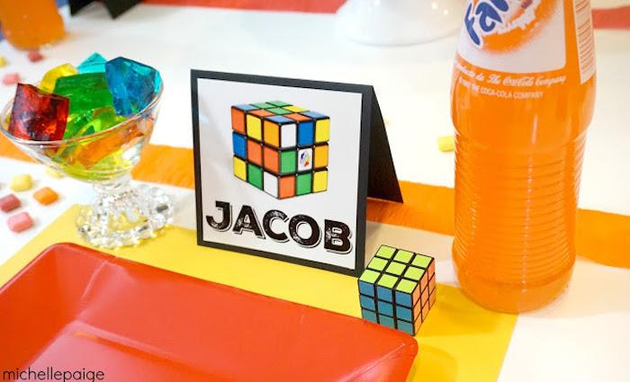 Place Setting from a Rubik's Cube Themed Birthday Party via Kara's Party Ideas   KarasPartyIdeas.com