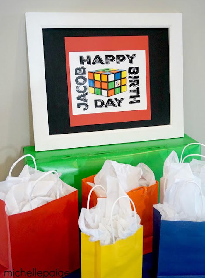 Favor + Gift Sacks from a Rubik's Cube Themed Birthday Party via Kara's Party Ideas KarasPartyIdeas.com (15)