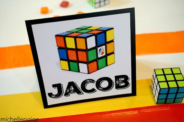 Name Place Card from a Rubik's Cube Themed Birthday Party via Kara's Party Ideas KarasPartyIdeas.com (14)