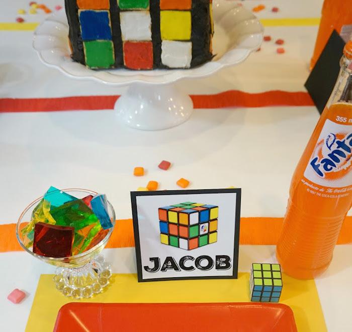 Place Setting from a Rubik's Cube Themed Birthday Party via Kara's Party Ideas KarasPartyIdeas.com (13)