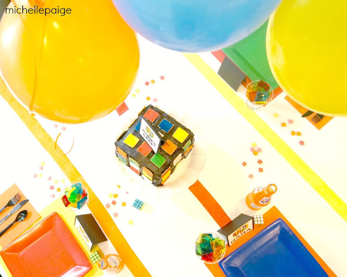 Top-view of Guest Table from a Rubik's Cube Themed Birthday Party via Kara's Party Ideas KarasPartyIdeas.com (10)