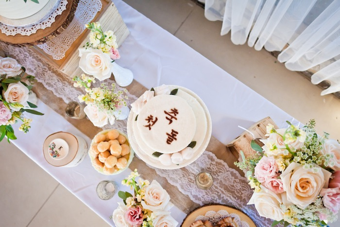 Top-view of a Sweet Table from a Rustic Floral 1st Birthday Party via Kara's Party Ideas! KarasPartyIdeas.com (19)