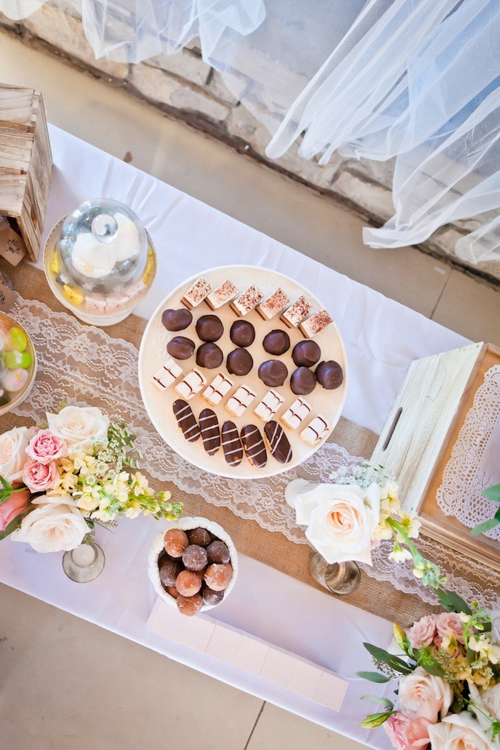 Sweet Tabletop from a Rustic Floral 1st Birthday Party via Kara's Party Ideas! KarasPartyIdeas.com (18)