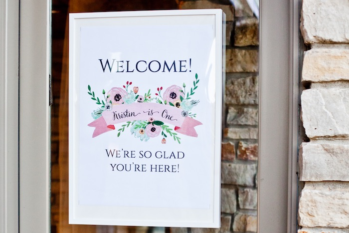 Welcome Sign from a Rustic Floral 1st Birthday Party via Kara's Party Ideas! KarasPartyIdeas.com (17)