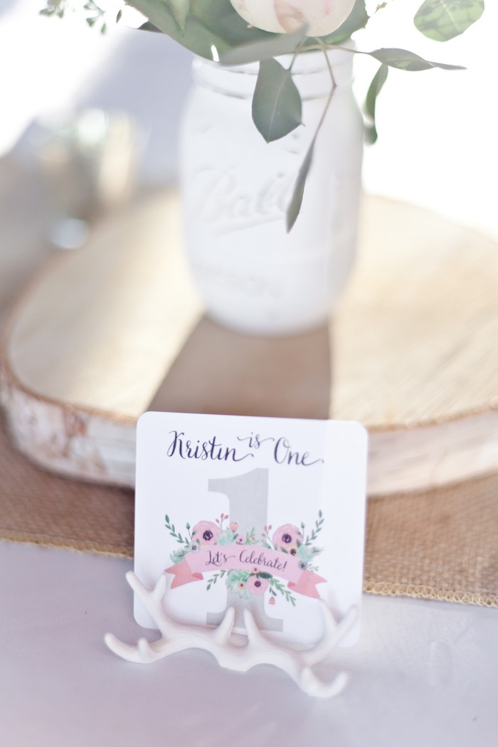 Stationery + Table Sign from a Rustic Floral 1st Birthday Party via Kara's Party Ideas! KarasPartyIdeas.com (14)