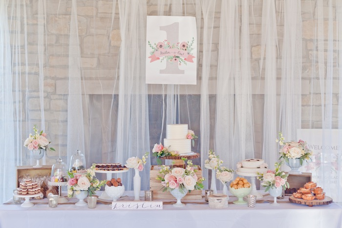 Sweet Table from a Rustic Floral 1st Birthday Party via Kara's Party Ideas! KarasPartyIdeas.com (30)