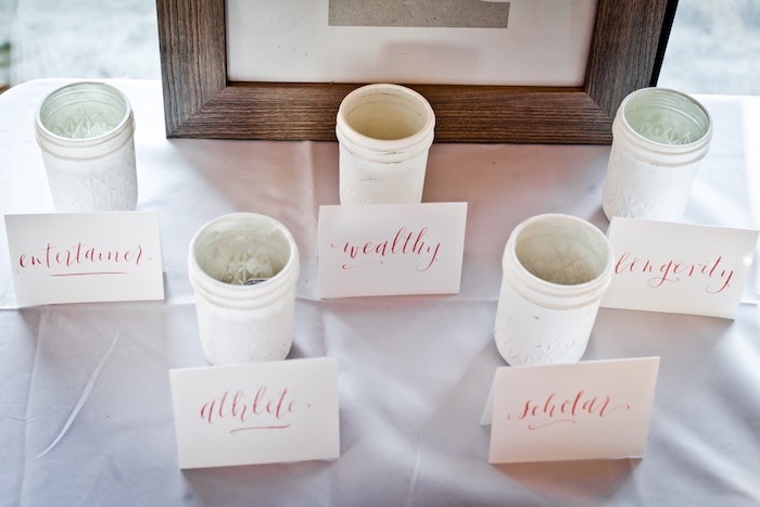 Guess Jars for a Dohl Game from a Rustic Floral 1st Birthday Party via Kara's Party Ideas! KarasPartyIdeas.com (11)