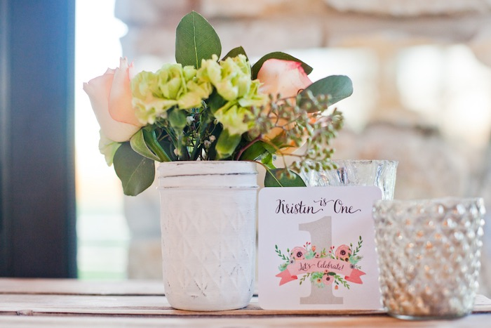 Floral Centerpiece from a Rustic Floral 1st Birthday Party via Kara's Party Ideas! KarasPartyIdeas.com (9)