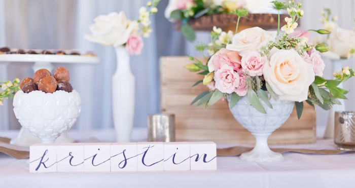 Sweet Table Details from a Rustic Floral 1st Birthday Party via Kara's Party Ideas! KarasPartyIdeas.com (2)