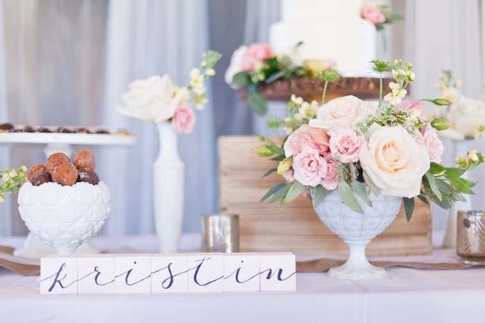 Sweet Table Details from a Rustic Floral 1st Birthday Party via Kara's Party Ideas! KarasPartyIdeas.com (29)