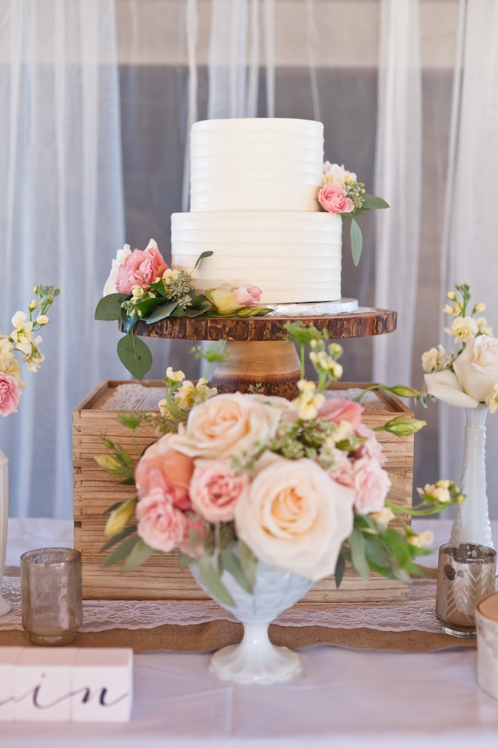 Cake Display From A Rustic Floral 1st Birthday Party Via Karas Ideas KarasPartyIdeas