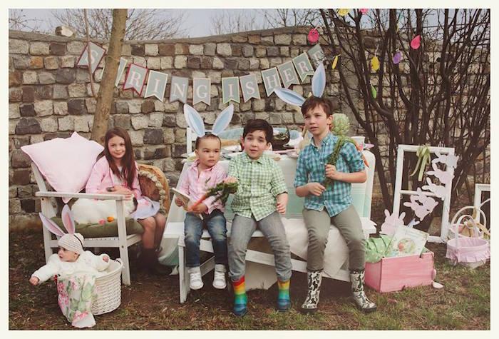 Children at a Spring Easter Brunch Party via Kara's Party Ideas! KarasPartyIdeas.com (20)